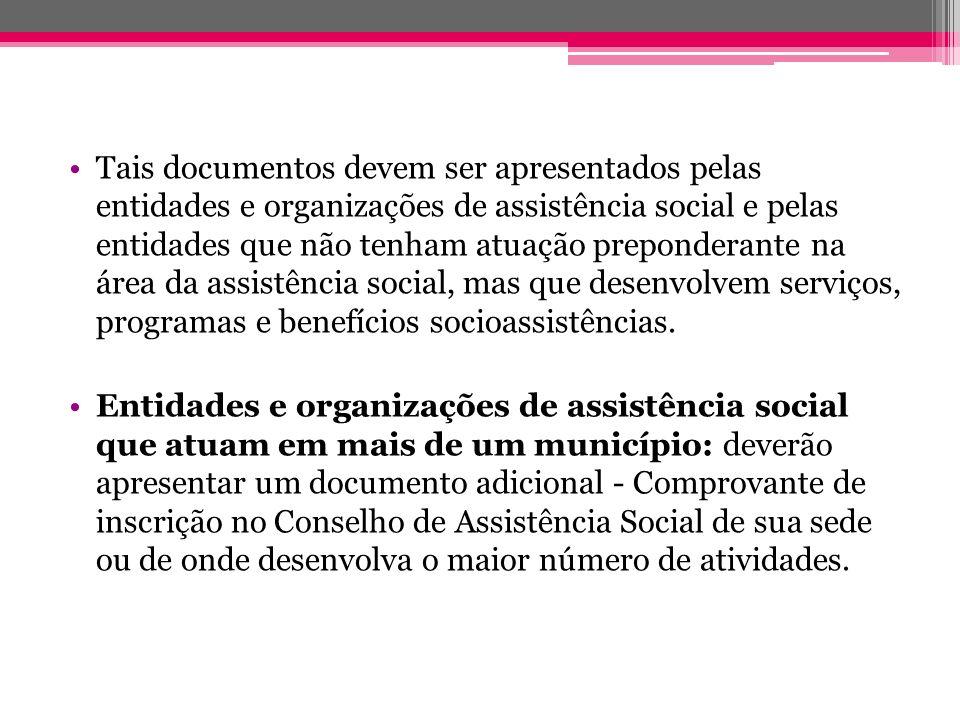 Tais documentos devem ser apresentados pelas entidades e organizações de assistência social e pelas entidades que não tenham atuação preponderante na área da assistência social, mas que desenvolvem serviços, programas e benefícios socioassistências.