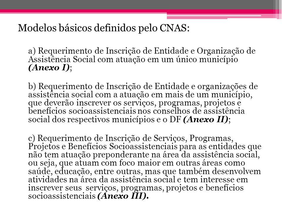 Modelos básicos definidos pelo CNAS: