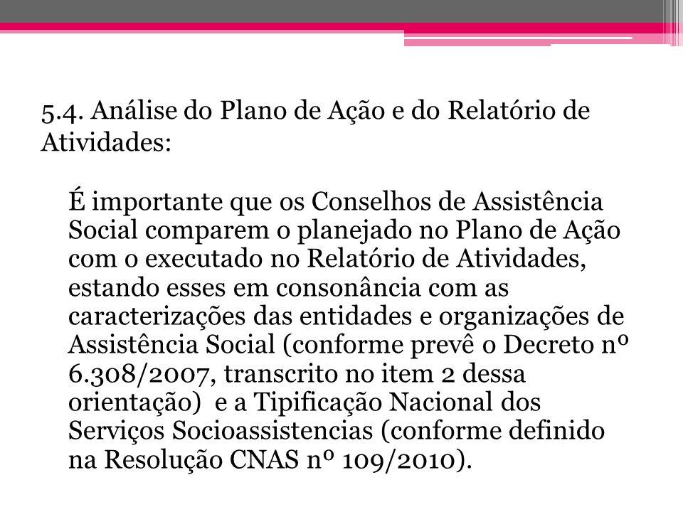 5.4. Análise do Plano de Ação e do Relatório de Atividades: