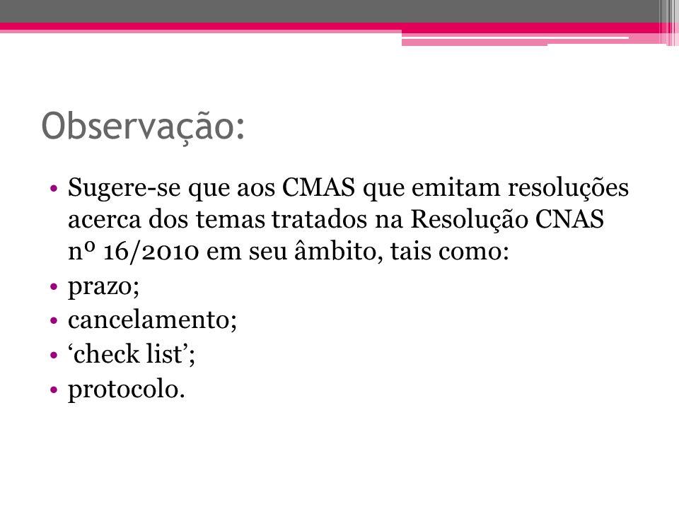 Observação: Sugere-se que aos CMAS que emitam resoluções acerca dos temas tratados na Resolução CNAS nº 16/2010 em seu âmbito, tais como: