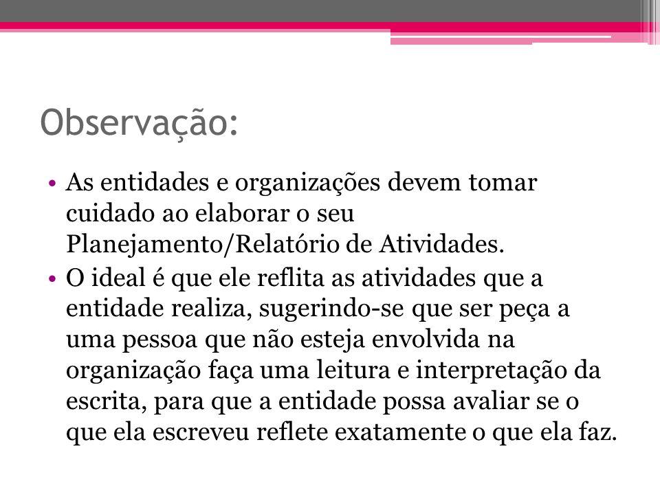 Observação: As entidades e organizações devem tomar cuidado ao elaborar o seu Planejamento/Relatório de Atividades.