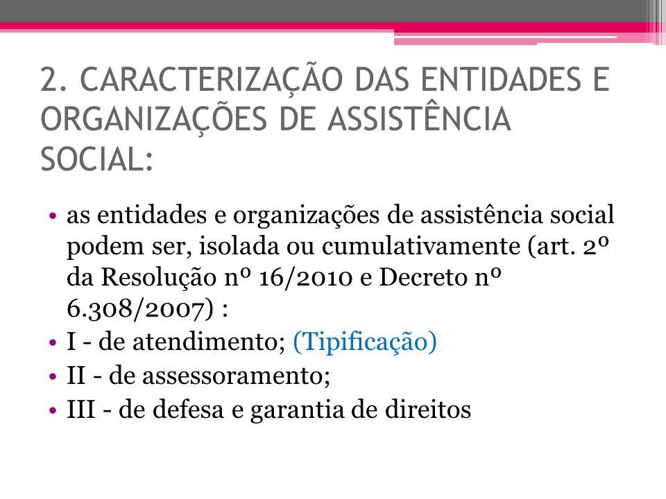 2. CARACTERIZAÇÃO DAS ENTIDADES E ORGANIZAÇÕES DE ASSISTÊNCIA SOCIAL: