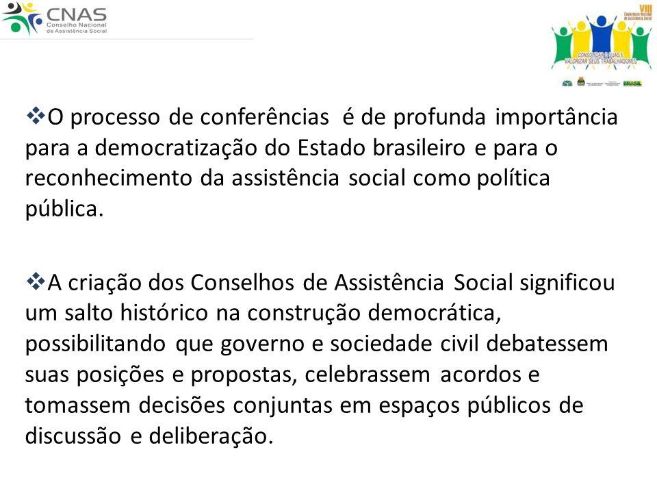 O processo de conferências é de profunda importância para a democratização do Estado brasileiro e para o reconhecimento da assistência social como política pública.