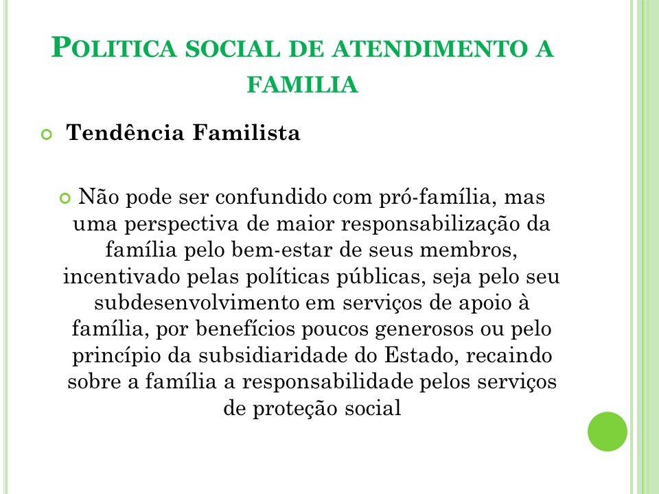 Politica social de atendimento a familia