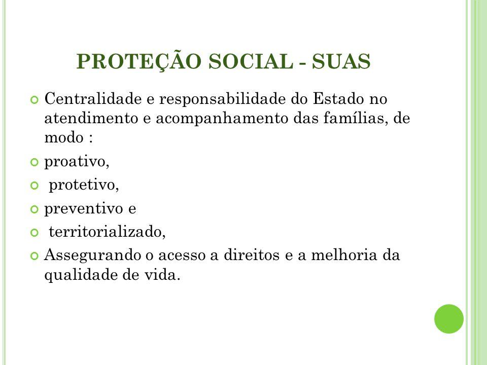 PROTEÇÃO SOCIAL - SUAS Centralidade e responsabilidade do Estado no atendimento e acompanhamento das famílias, de modo :
