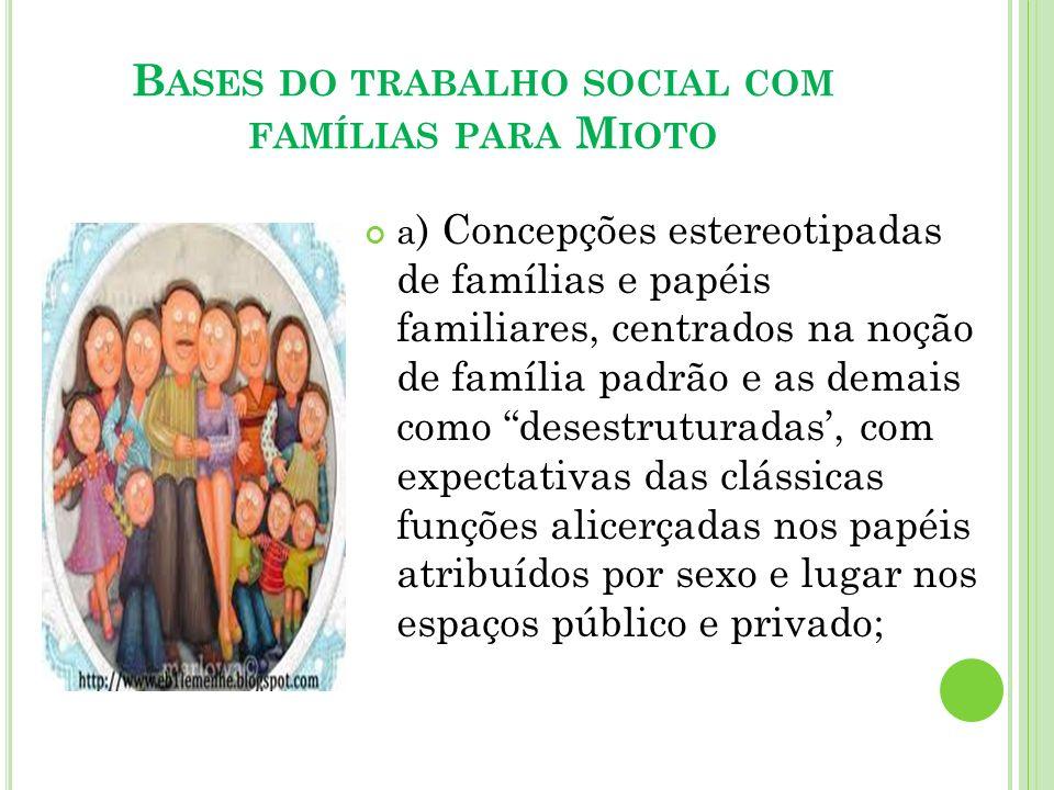Bases do trabalho social com famílias para Mioto