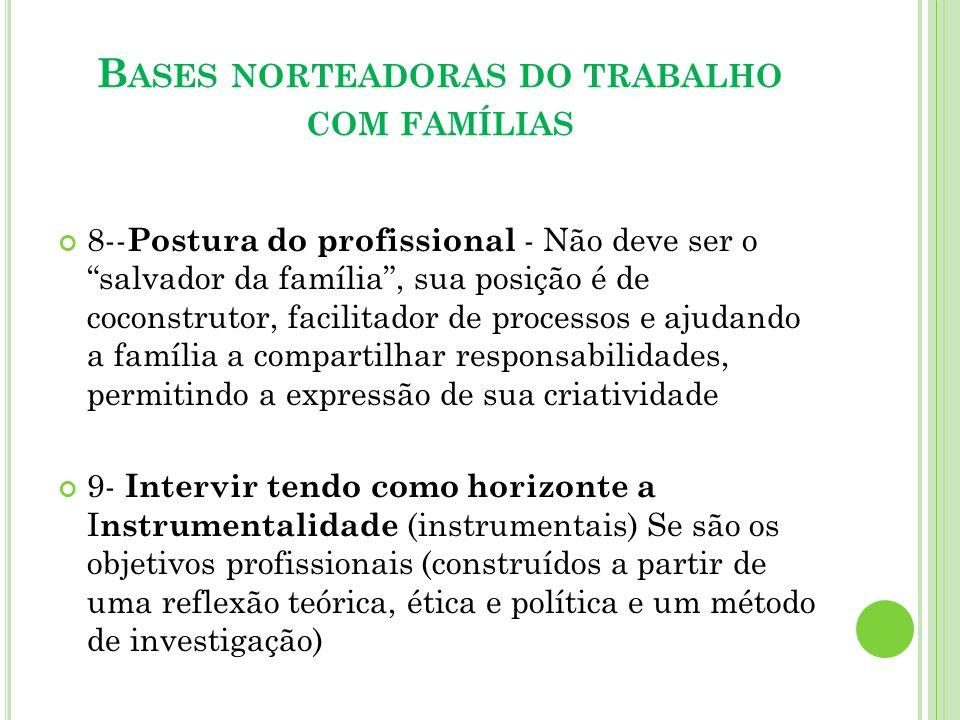 Bases norteadoras do trabalho com famílias