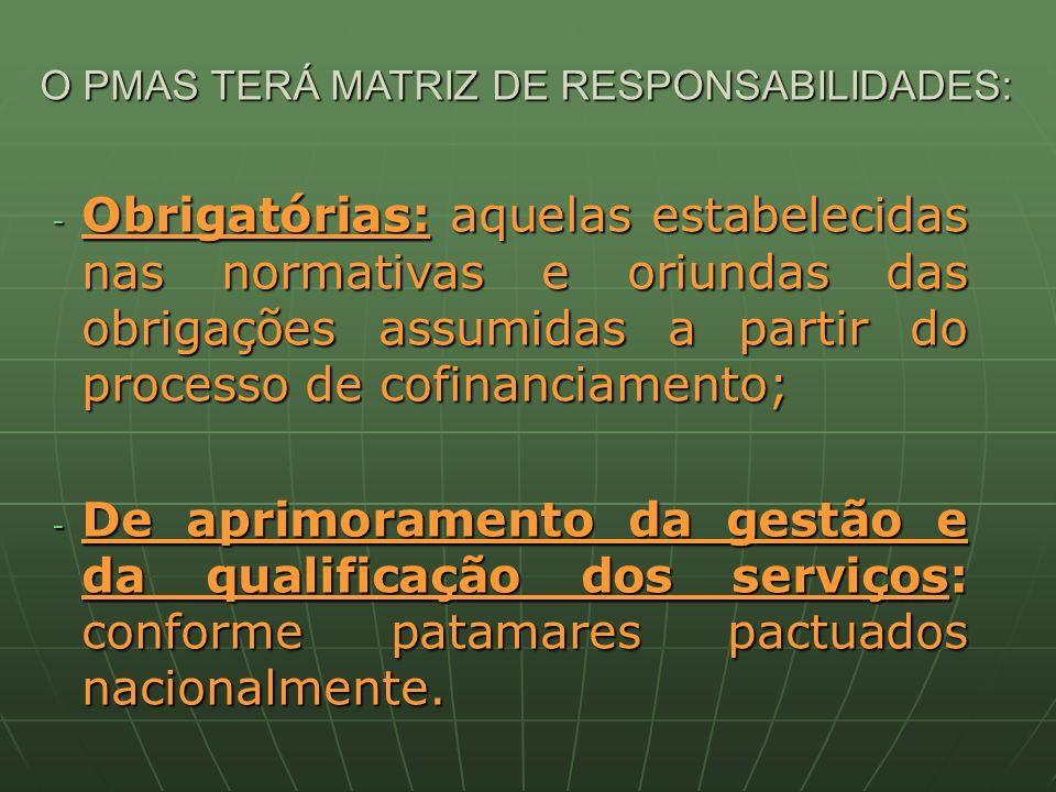 O PMAS TERÁ MATRIZ DE RESPONSABILIDADES: