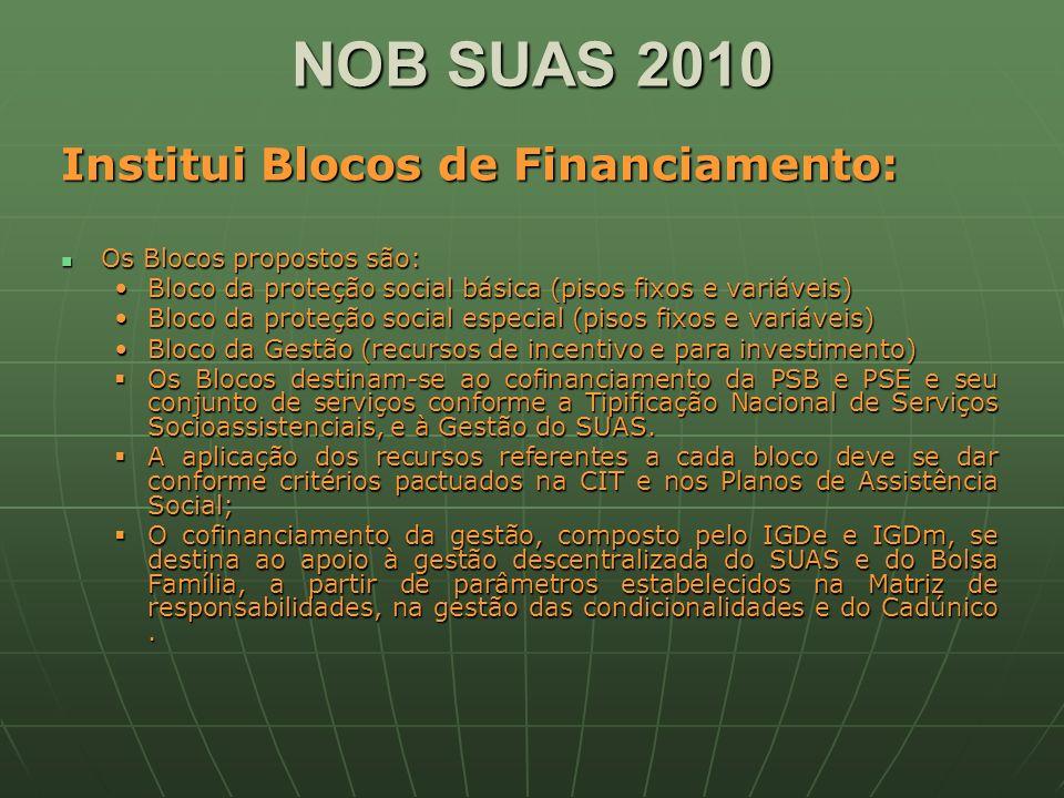 NOB SUAS 2010 Institui Blocos de Financiamento: