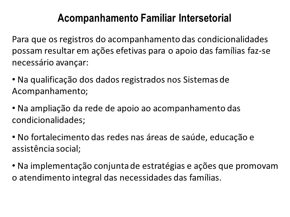 Acompanhamento Familiar Intersetorial