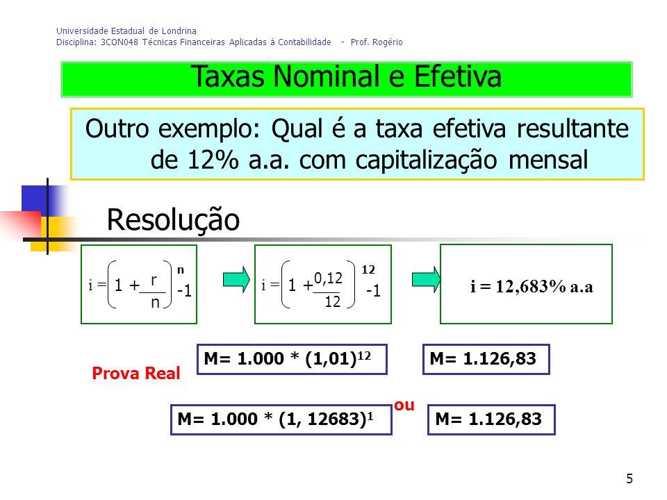 Taxas Nominal e Efetiva