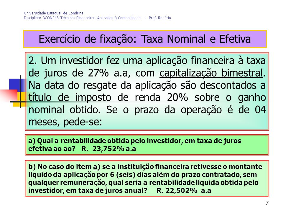 Exercício de fixação: Taxa Nominal e Efetiva