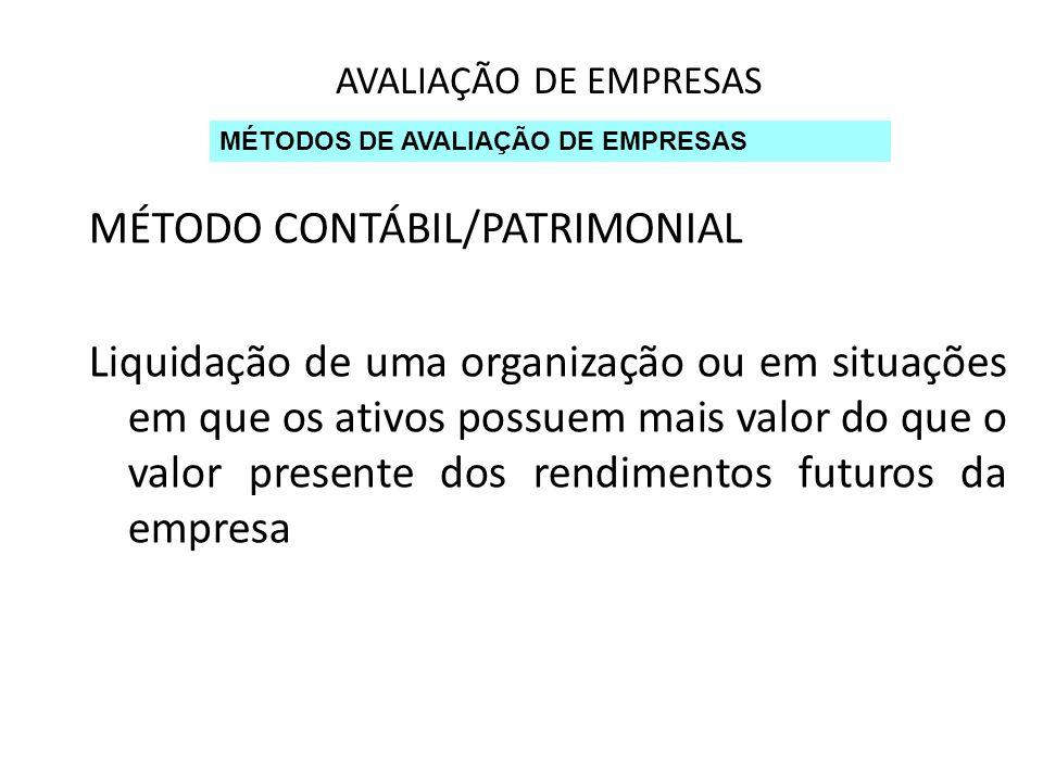 MÉTODO CONTÁBIL/PATRIMONIAL