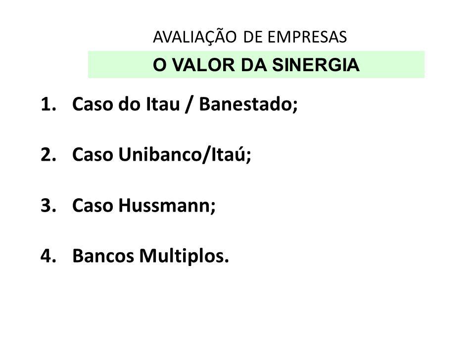 Caso do Itau / Banestado; Caso Unibanco/Itaú; Caso Hussmann;