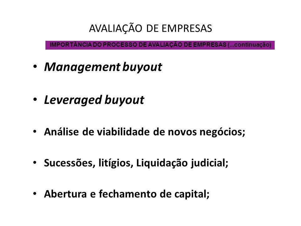 Management buyout Leveraged buyout AVALIAÇÃO DE EMPRESAS