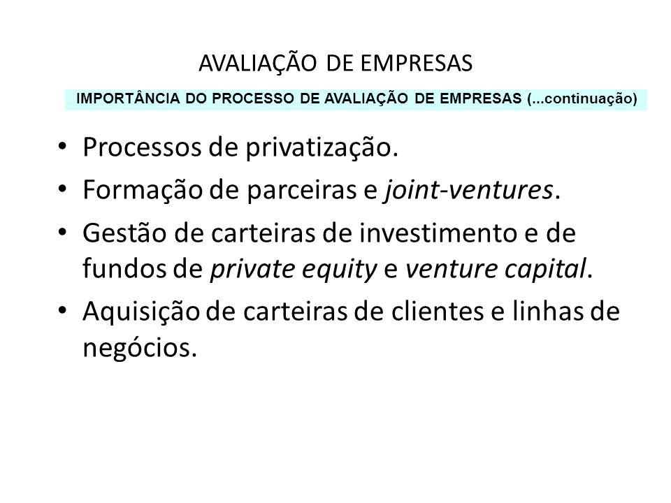 Processos de privatização. Formação de parceiras e joint-ventures.