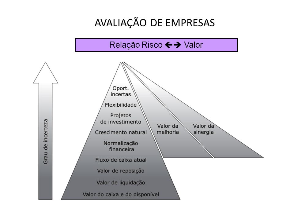 AVALIAÇÃO DE EMPRESAS Relação Risco  Valor
