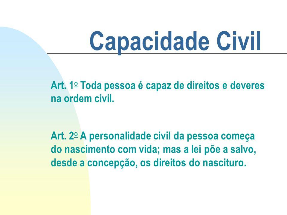 Capacidade Civil Art. 1o Toda pessoa é capaz de direitos e deveres na ordem civil.