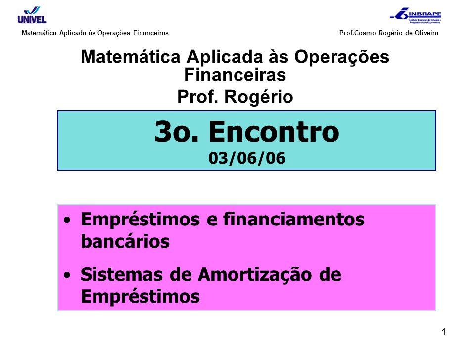 Matemática Aplicada às Operações Financeiras Prof. Rogério