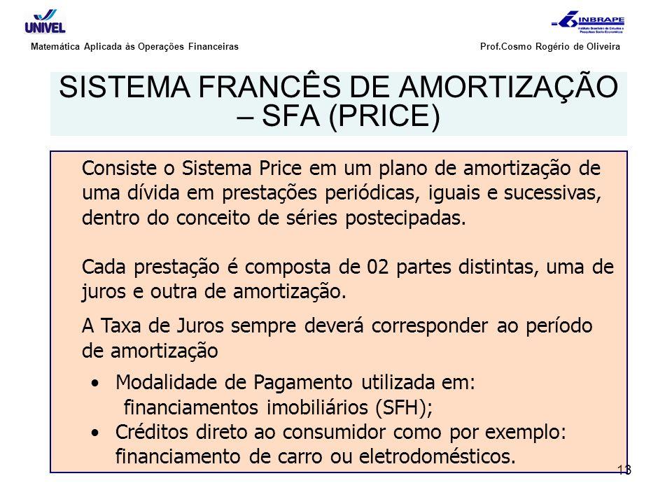 SISTEMA FRANCÊS DE AMORTIZAÇÃO – SFA (PRICE)