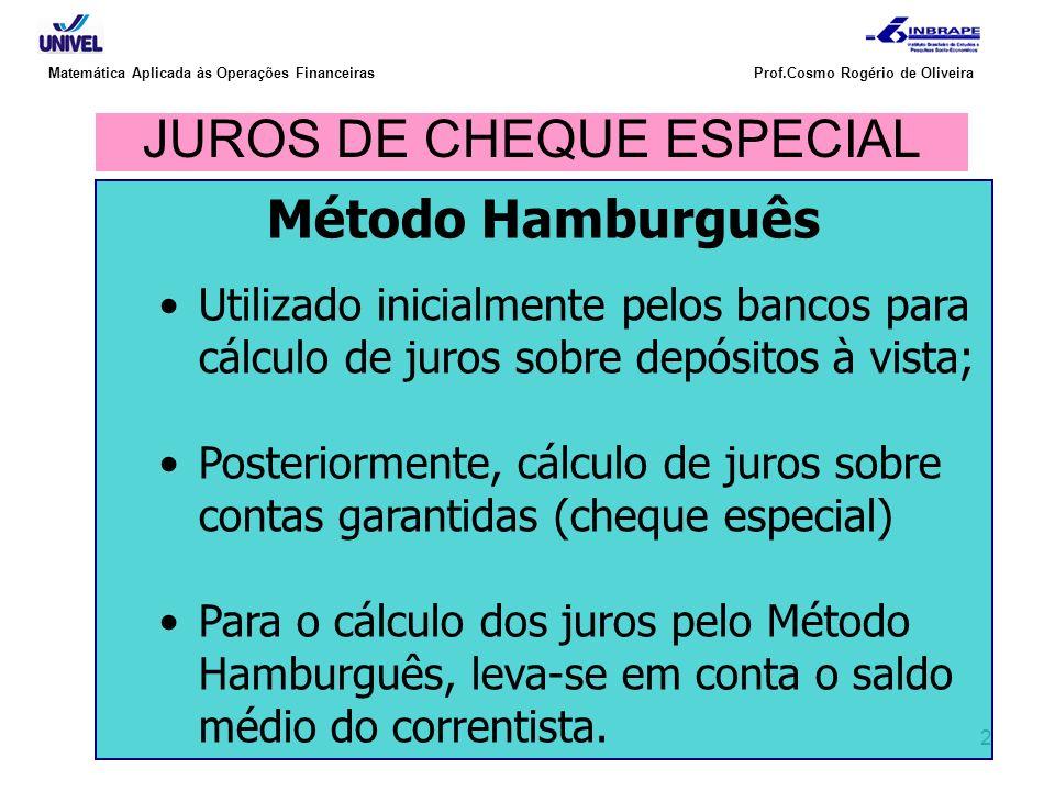 JUROS DE CHEQUE ESPECIAL