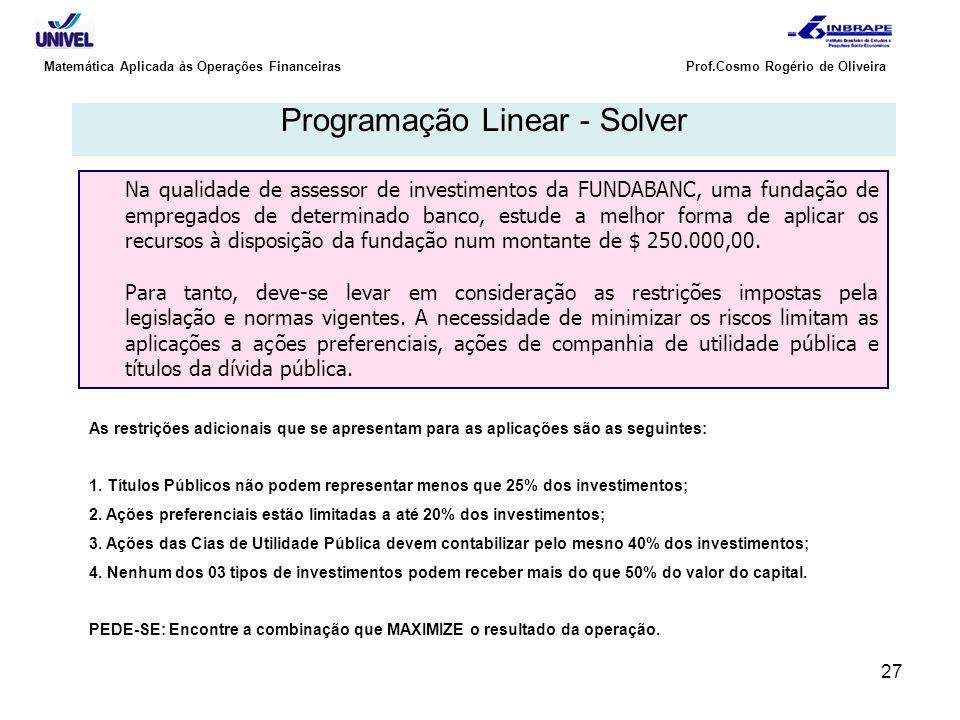 Programação Linear - Solver