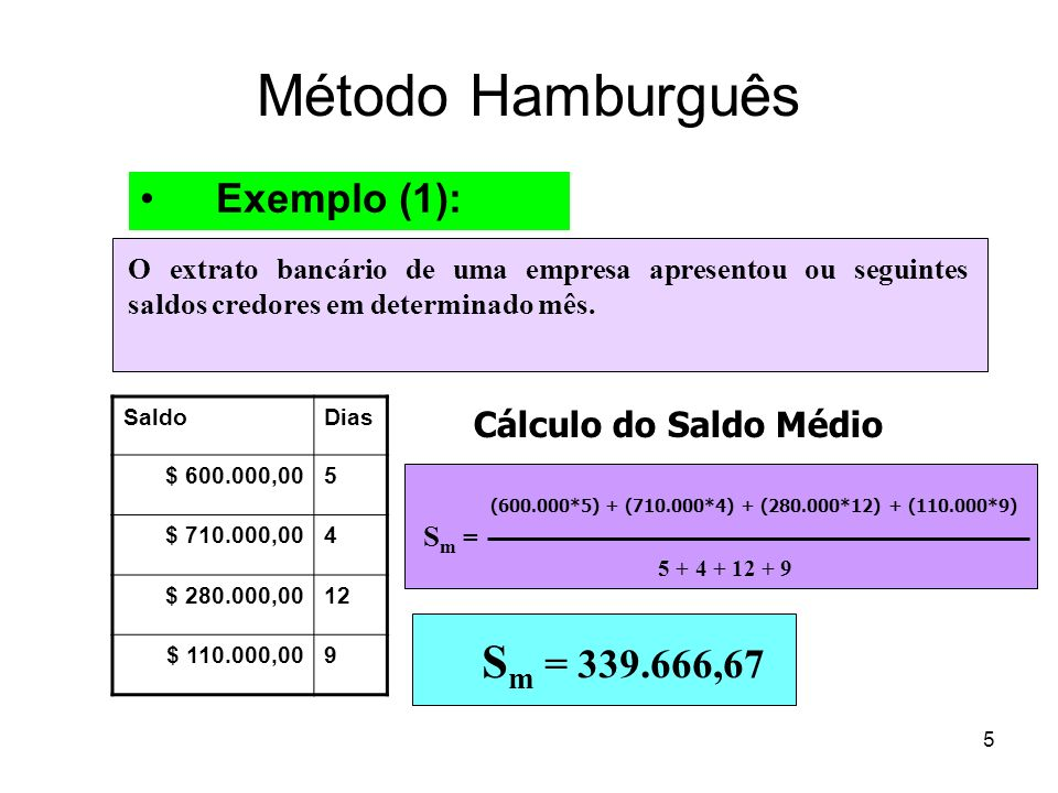 Método Hamburguês Sm = 339.666,67 Exemplo (1): Cálculo do Saldo Médio
