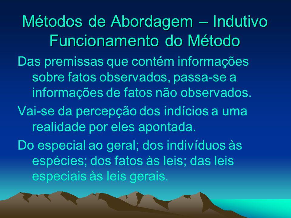 Métodos de Abordagem – Indutivo Funcionamento do Método