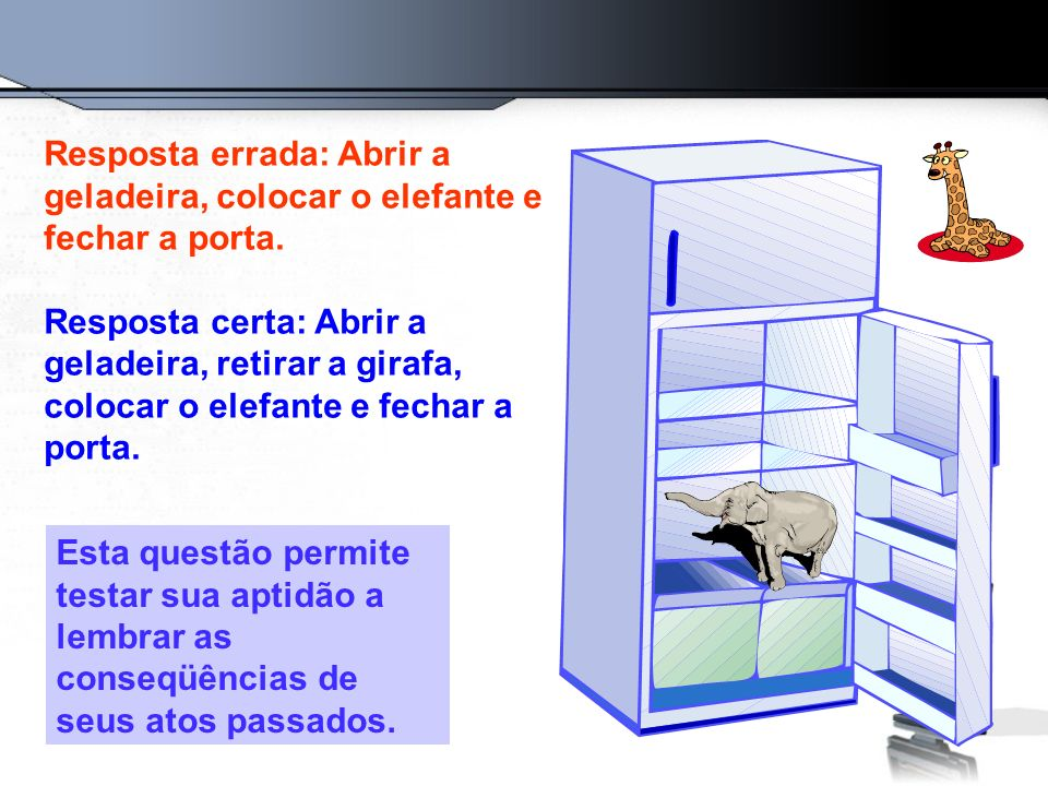 Resposta errada: Abrir a geladeira, colocar o elefante e fechar a porta.