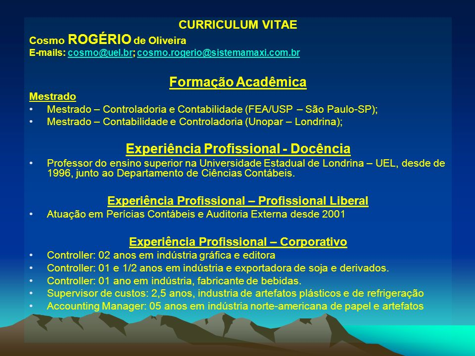 Formação Acadêmica Experiência Profissional - Docência