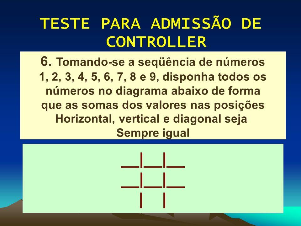 TESTE PARA ADMISSÃO DE CONTROLLER