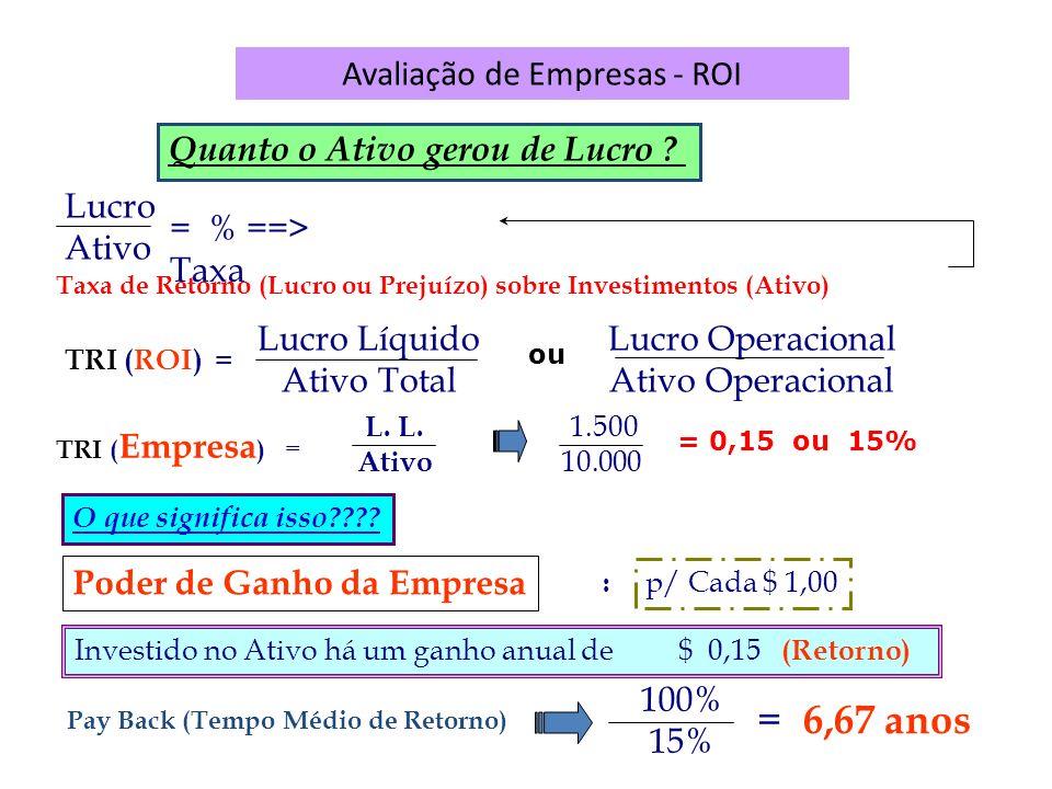 Avaliação de Empresas - ROI