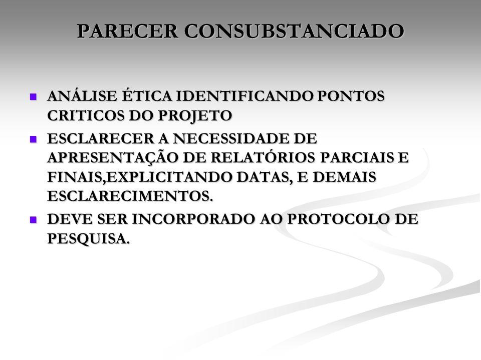 PARECER CONSUBSTANCIADO