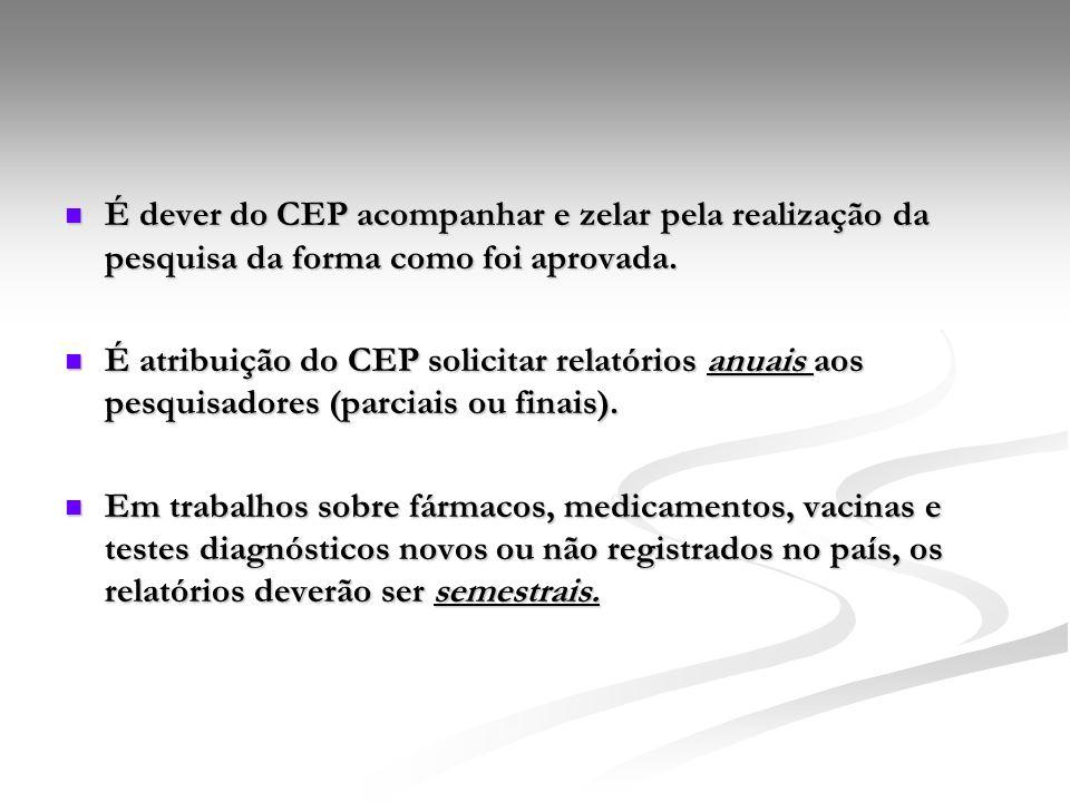 É dever do CEP acompanhar e zelar pela realização da pesquisa da forma como foi aprovada.