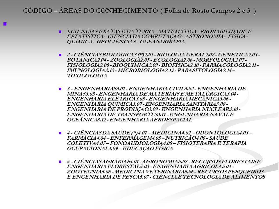 CÓDIGO – ÁREAS DO CONHECIMENTO ( Folha de Rosto Campos 2 e 3 )