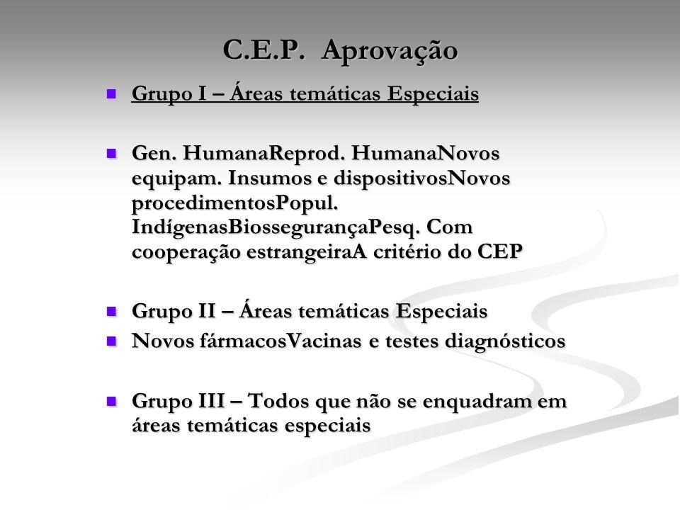 C.E.P. Aprovação Grupo I – Áreas temáticas Especiais