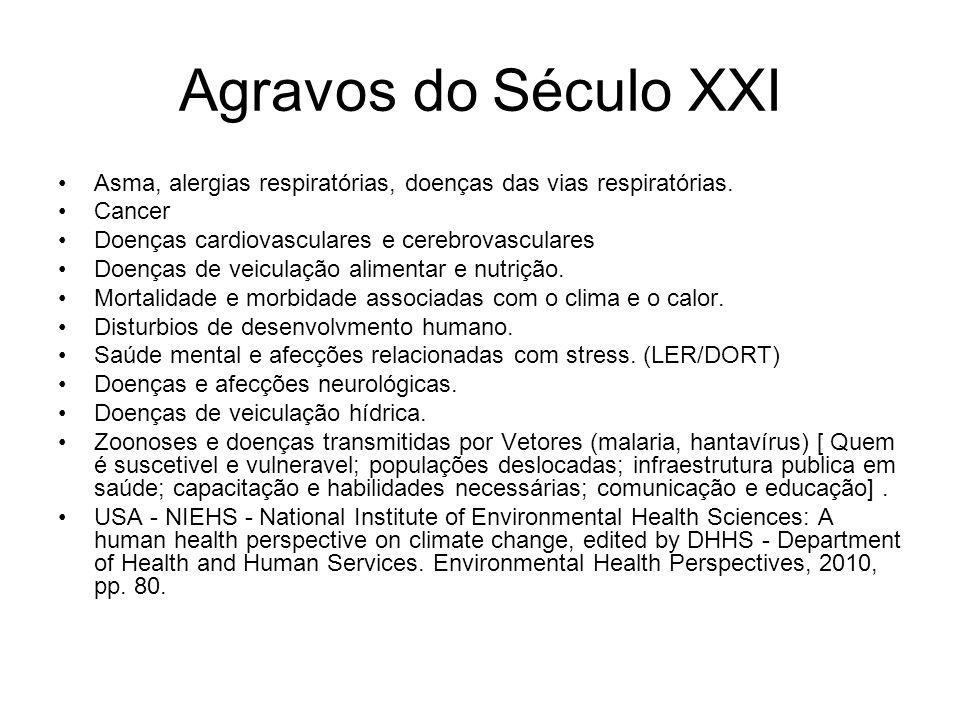Agravos do Século XXI Asma, alergias respiratórias, doenças das vias respiratórias. Cancer. Doenças cardiovasculares e cerebrovasculares.