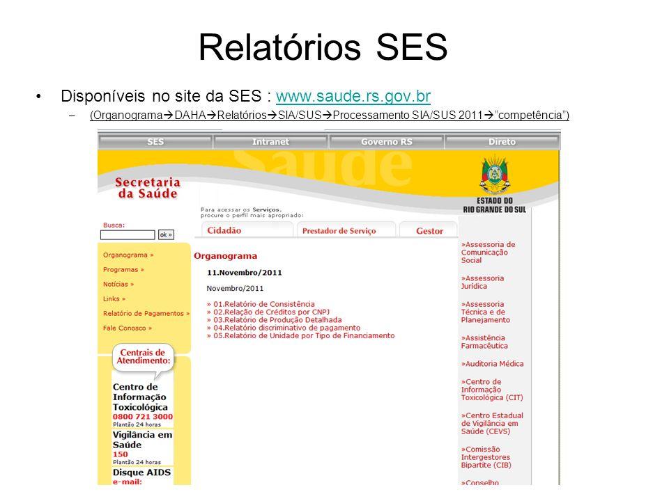 Relatórios SES Disponíveis no site da SES : www.saude.rs.gov.br