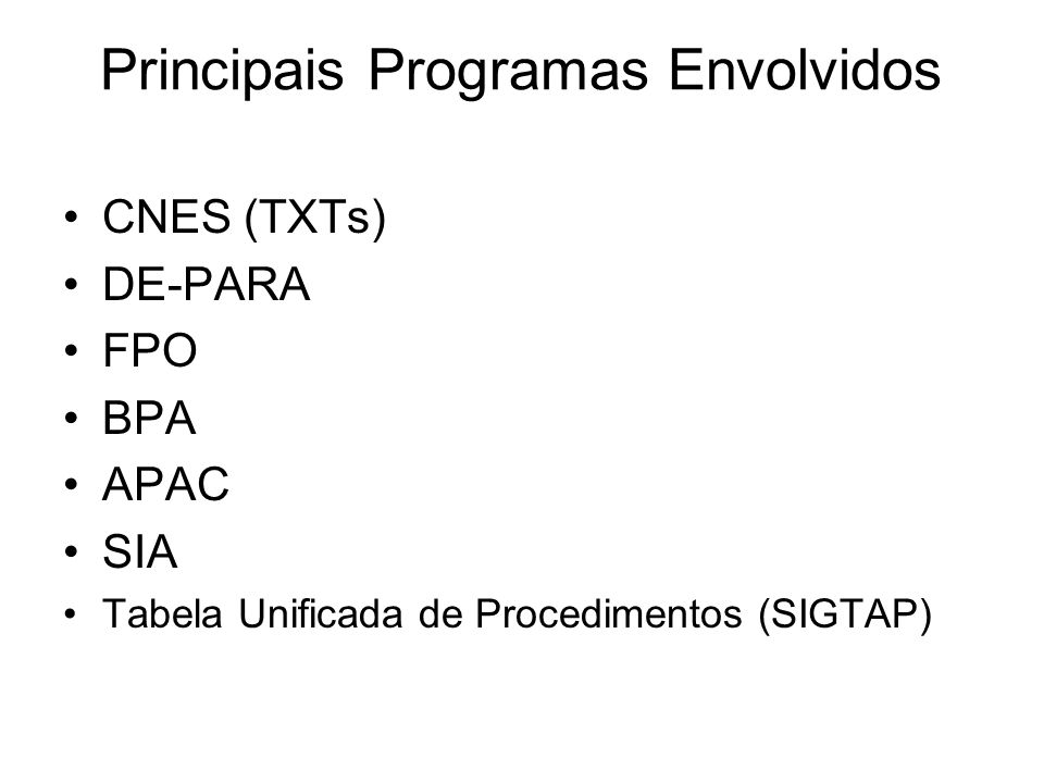 Principais Programas Envolvidos
