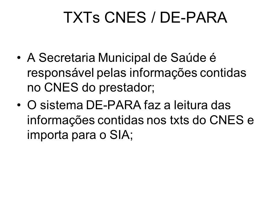 TXTs CNES / DE-PARA A Secretaria Municipal de Saúde é responsável pelas informações contidas no CNES do prestador;