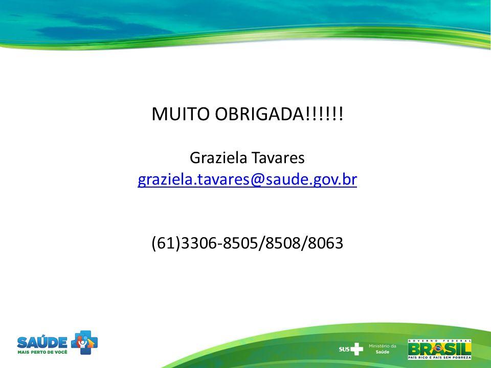 MUITO OBRIGADA!!!!!! Graziela Tavares graziela.tavares@saude.gov.br