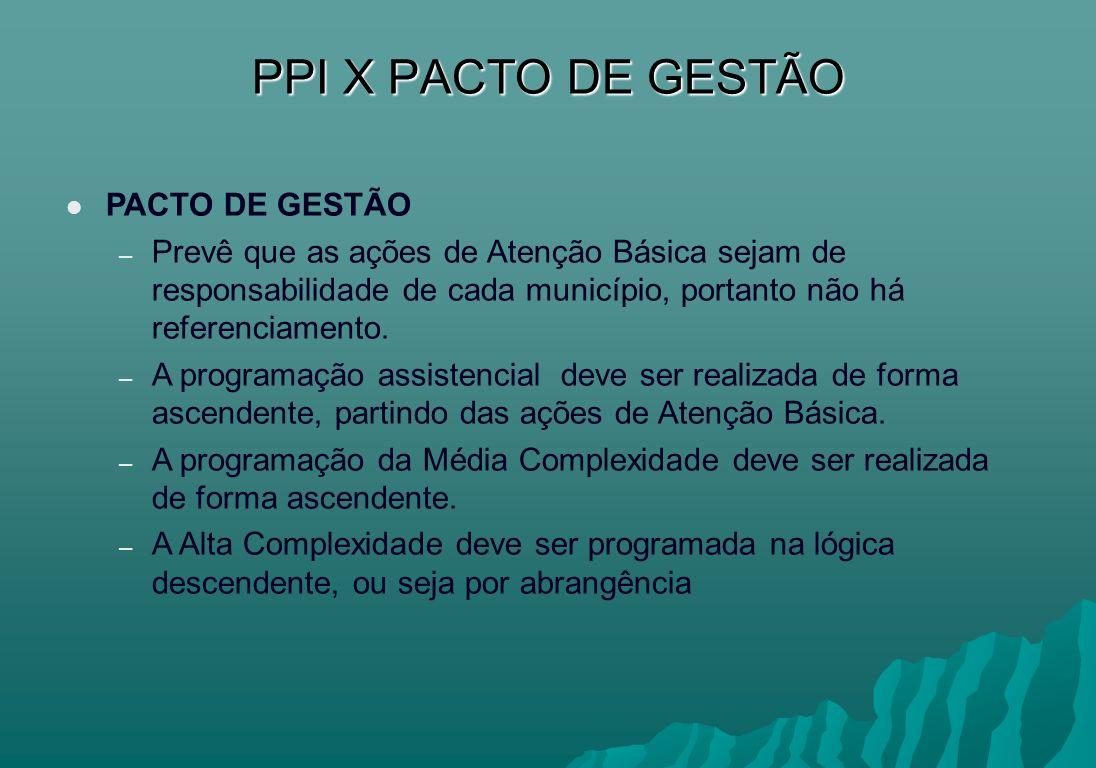 PPI X PACTO DE GESTÃO PACTO DE GESTÃO
