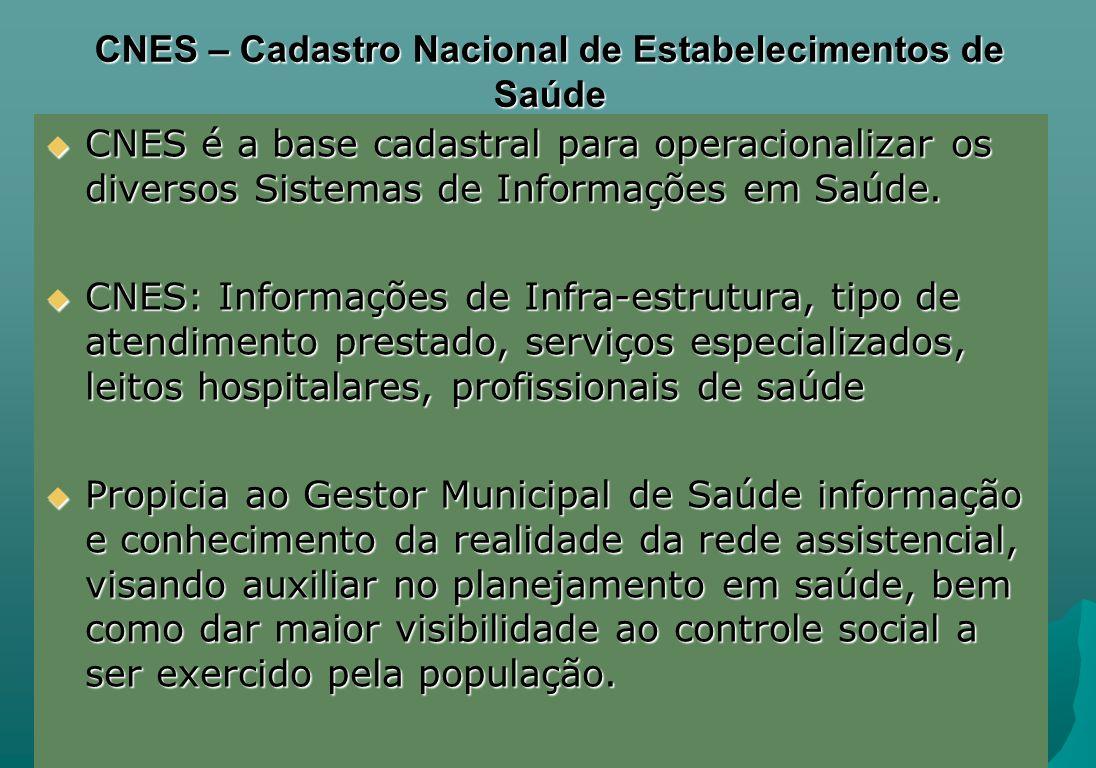 CNES – Cadastro Nacional de Estabelecimentos de Saúde