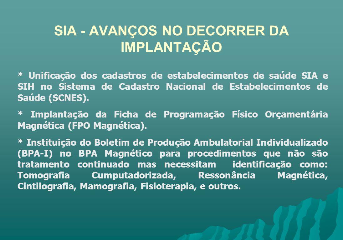 SIA - AVANÇOS NO DECORRER DA IMPLANTAÇÃO