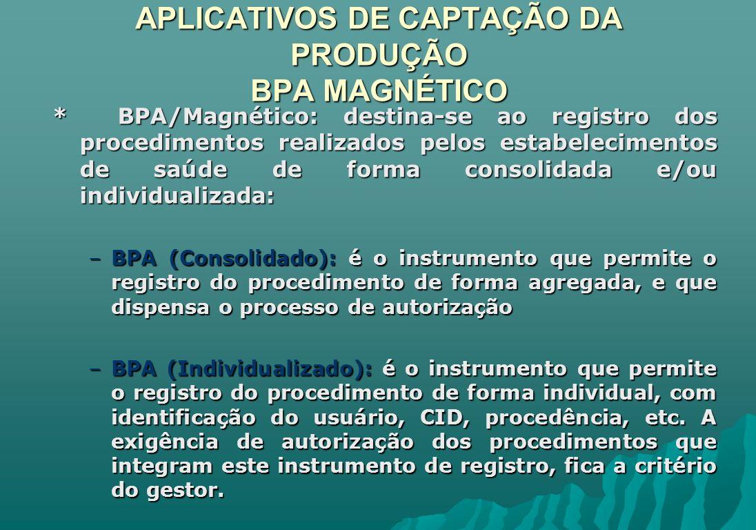 APLICATIVOS DE CAPTAÇÃO DA PRODUÇÃO BPA MAGNÉTICO