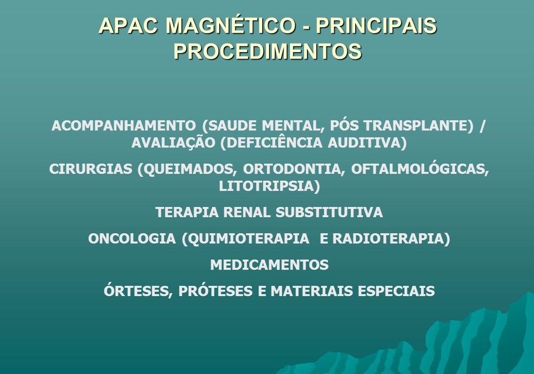 APAC MAGNÉTICO - PRINCIPAIS PROCEDIMENTOS