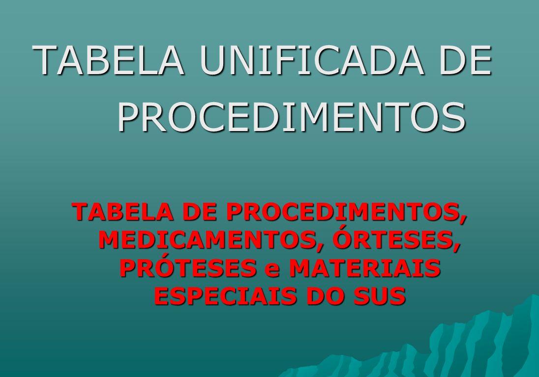 TABELA UNIFICADA DE PROCEDIMENTOS