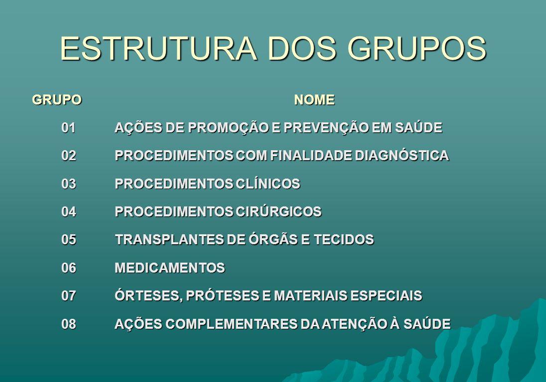 ESTRUTURA DOS GRUPOS GRUPO NOME 01
