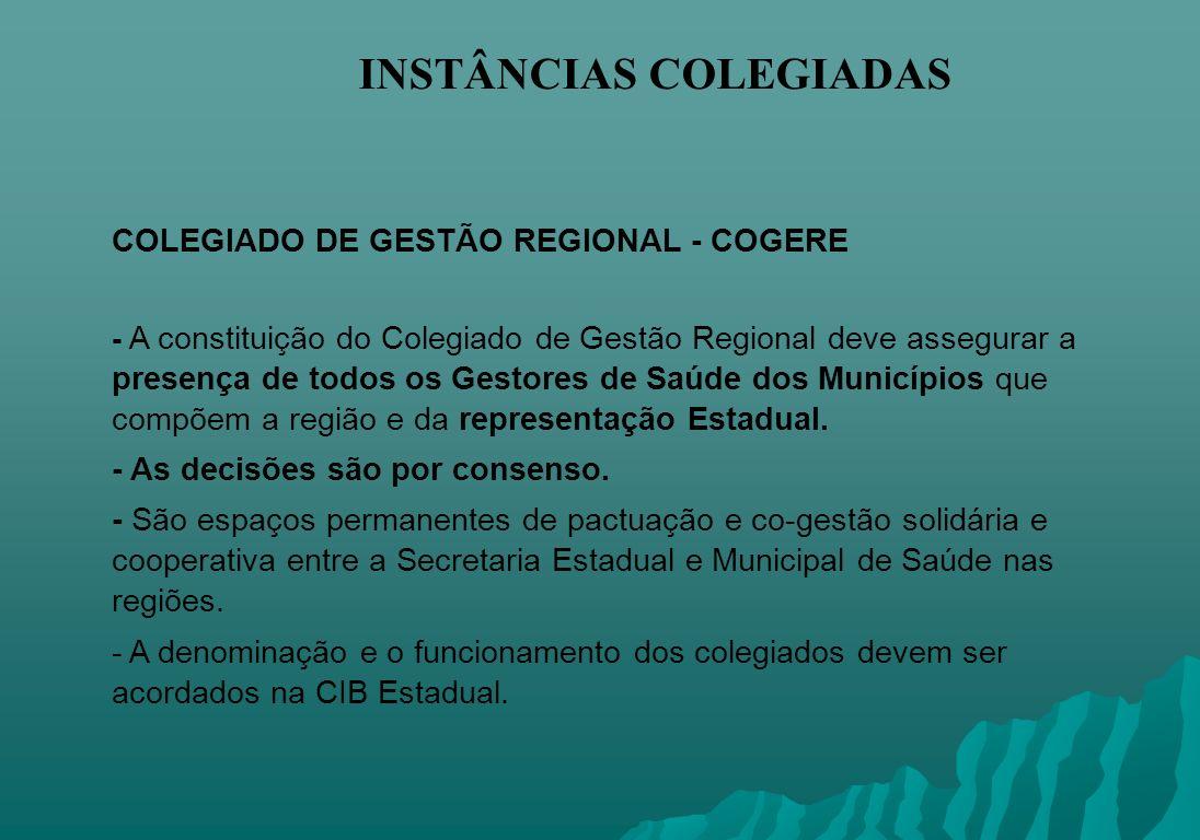 INSTÂNCIAS COLEGIADAS