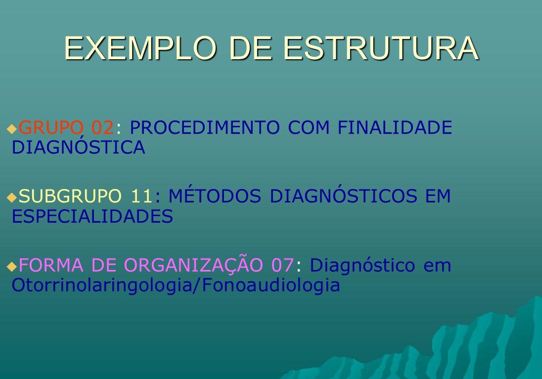 EXEMPLO DE ESTRUTURA GRUPO 02: PROCEDIMENTO COM FINALIDADE DIAGNÓSTICA